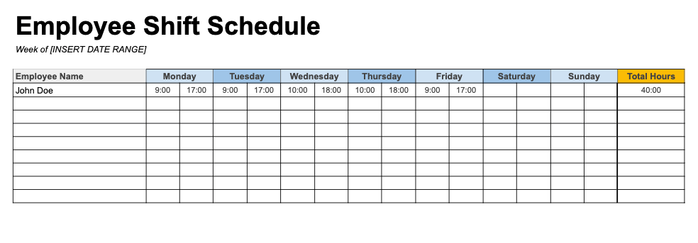 Weekly Employee Schedule Template With Total Hours