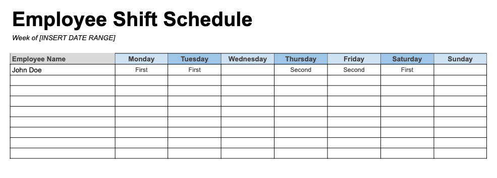 Weekly Employee Schedule Template By Shift